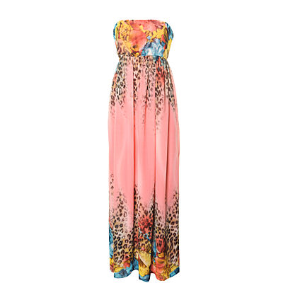 Ribbon Leopard Band Maxi Dress