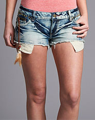 BLONDE & BLONDE Bleached Denim Feather Shorts