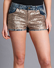 Ribbon Sequin Denim Shorts
