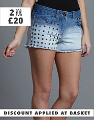 BLONDE & BLONDE Studded Denim Shorts