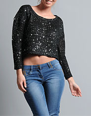 Ribbon Sequin Cropped Jumper
