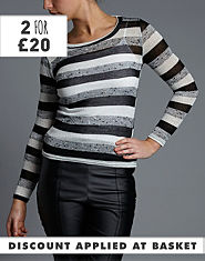 BLONDE & BLONDE Sparkle Striped Jumper