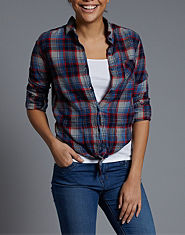 BLONDE & BLONDE Tie Front Checked Shirt