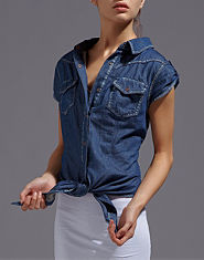 ONLY Resa Tied Denim Blouse