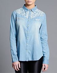 Ribbon Denim Paisley Shirt