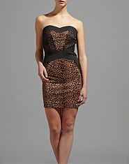 Little Mistress Libby Leopard Print Bandage Dress