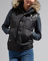 Voi Jeans Lady Goose Faux Fur Hooded Gilet