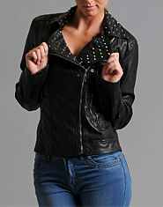Glamorous Leather Look Studded Biker Jacket