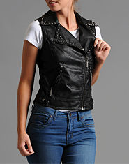 Glamorous Studded Leather Look Gilet