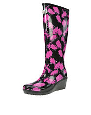Wedge Welly Savvy Splatter Print Welly