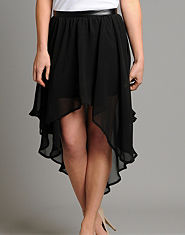 Glamorous Leather Look Waist Dip Hem Skirt
