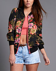 Red or Dead Pebibyte Floral Bomber Jacket