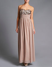 Little Mistress Mocha Embellished Maxi Dress