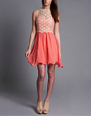 Little Mistress Floral Lace Top Dress
