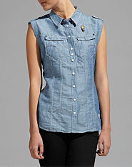 G-STAR Nikki Sleeveless Chambray Shirt