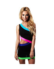 QUONTUM One Shoulder Neon Cut Out Dress