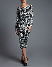 Ribbon Animal Print Midi Dress