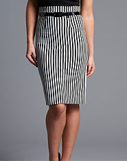 Ribbon Striped Pencil Skirt