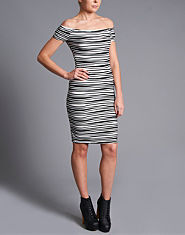 Ribbon Stripe Bardot Dress