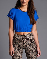 BLONDE & BLONDE Elastic Hem Crop Top
