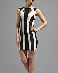 Lipsy Monochrome Striped Bodycon Dress