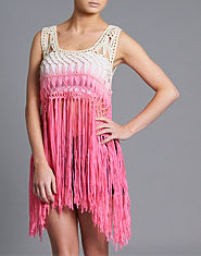 Ribbon Dip Dye Fringe Crop Top