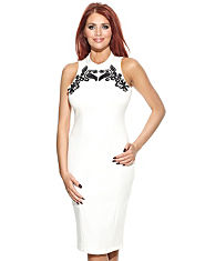 Amy Childs Abbi Embroidered Neck Dress