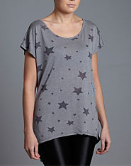 BLONDE & BLONDE Star Print Burnout Top