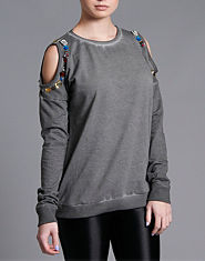 Ribbon Cold Shoulder Jewel Sweat