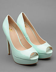 Kitsch Couture Peep Toe Banana Heels