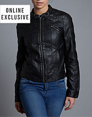 ONLY Corrie Leather Look Biker Jacket
