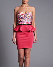 Little Mistress Floral Bustier Peplum Dress
