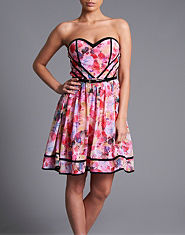 Little Mistress Floral Bandeau Prom Dress