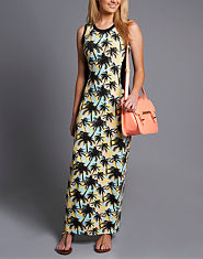 Tulisa TFB Bodycon Hawaiian Print Maxi Dress