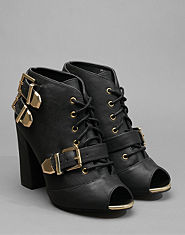 Kitsch Couture Buckle Peep Lace Shoe Boots