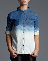 Ribbon Dip Dye Denim Shirt