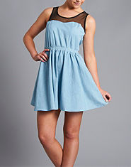 Ribbon Mesh Chambray Skater Dress