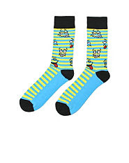 Bank Stripe Smiley Face Socks