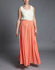 Rare Flower Applique Maxi Dress
