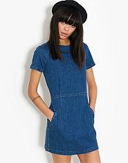 BLONDE & BLONDE Zip Back Denim Dress