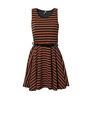 Ribbon Striped Skater Dress