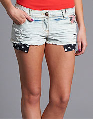 BLONDE & BLONDE American Print Denim Shorts