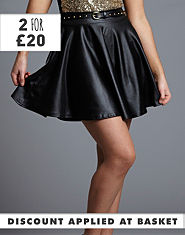 Ribbon Wet Look Skater Skirt