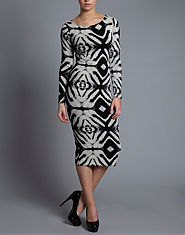 Ribbon Ethnic Long Sleeve Midi Dress