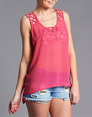 Ribbon Lattice Chiffon Top
