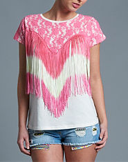 Red or Dead Hydia Lace Fringe T-Shirt