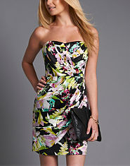 Lipsy Pleated Printed Bandeau Dress