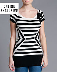Lipsy Multi Stripe Tie Neck Tunic