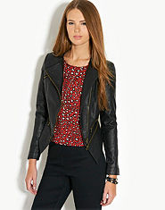 Tulisa TFB Zip Leather Look Biker Jacket
