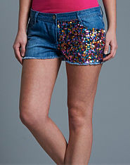 Tulisa TFB Sequin Denim Shorts